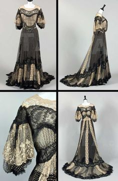 Raudnitz & Co. dinner dress ca. 1902 From Kerry Taylor Auctions Edwardian Clothing, Antique Clothing, Historical Clothing, 1900s Fashion, Edwardian Fashion, Vintage Fashion, Edwardian Era, Vintage Gowns, Vintage Outfits