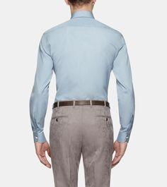 ERMENEGILDO ZEGNA: Chemise classique - Couture Toile Col Classique Poignets avec deux  Bleu ciel, Détail 4 - 38352723IO