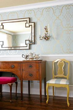 Sarah Richardson dining room - love the wall paper and mirror