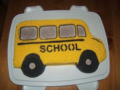 Start a back to school tradition of making a school bus cake and invite the neighbor kids to come over and enjoy as we'll. could also use donuts for the wheels.