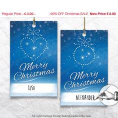 On SALE Printable Christmas Tags Gift DIY by FreshlyBakedGraphics