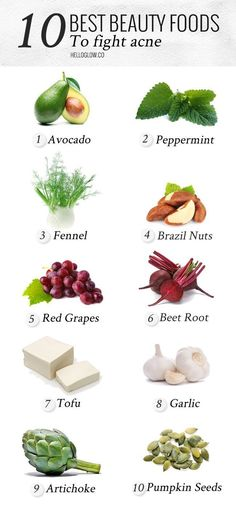 10 Best Beauty Foods for Acne | http://HelloGlow.co