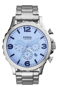 Fossil 'Nate' Chronograph Bracelet Watch, 50mm