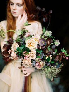 Double tap if you love a spring bouquet! Hellebore, garden roses and foraged cherry branches make up this simple but uber romantic bouquet. This will forever be a favorite springtime bouquet. Fall Bouquets, Spring Bouquet, Floral Bouquets, Wedding Bouquets, Floral Wedding, Wedding Colors, Wedding Flowers, Plum Flowers, Green Wedding