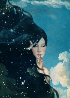Checkout this beautiful fantasy art by this amazing artist.Lady Night Is Coming night Painting Inspiration, Art Inspo, Head In The Clouds, Beautiful Fantasy Art, Dream Fantasy, Night Portrait, Dream Art, Ladies Night, Moon Art