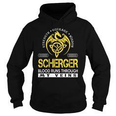 SCHERGER Blood Runs Through My Veins (Dragon) - Last Name, Surname T-Shirt