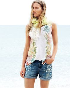 :: J.Crew women's linen tank in swing in fruit salad and Collection painted jean short. ::
