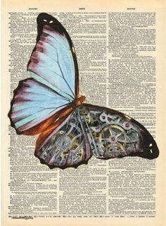 SteamPunk Blue Butterfly on Antique Dictionary Page, Book Art, Art print, Wall Decor, Wall Art Mixed Media Collage Steampunk Drawing, Steampunk Kunst, Collage Book, Mixed Media Collage, Butterfly Drawing, Blue Butterfly, Book Page Art, Book Art, Art Pages