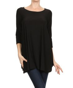 Loving this Black Three-Quarter Sleeve Tunic on #zulily! #zulilyfinds