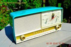 SOLD! - Aug 5, 2015 - AQUA and White Retro Jetsons 1956 RCA Victor 9-C-7LE Tube AM Clock Radio Totally Restored!
