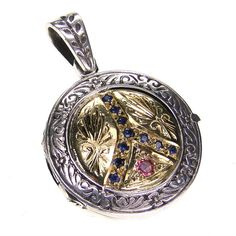 Evangelatos Peace Pendant - 18k Gold, Sapphires and Sterling Silver