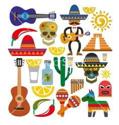 Illustration about Vector mexico icons. This is file of format. Illustration of latinoamerica, chili, fight - 35947343 Mexican Birthday, Mexican Party, Cultures Du Monde, Mexican Colors, Mexico Art, Thinking Day, Fiesta Party, Taco Party, Mexican Folk Art