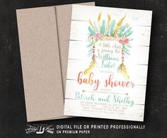 Rustic Baby Shower Invitation  Boho Co-Ed Baby Shower