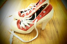 Hot NORMA KAMALI 1980's High Heel SNEAKERS 75 Red by atomicpassion