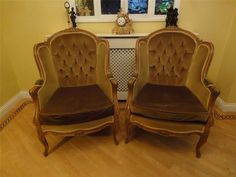 Pair of Walnut Antique French Empire Style Armchairs in Green Draylon Upholstery