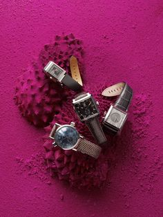 #bywstudent - love the monchrome background with elements arranged on it Watches styled by Kirsten Schmidt.