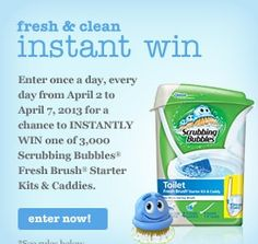 ENTER for a chance to WIN 1 of 3,000 Scrubbing Bubbles Fresh Brush Starter Kits & Caddies ENTER DAILY