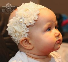 Baptism Headband, Christening Headband, Flower Girl Headband, Cake Smash Headband (theohsobellaboutique.etsy.com)