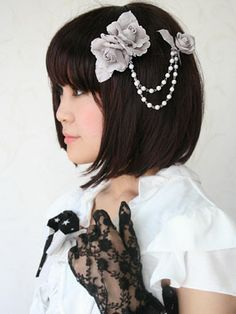 Pearl Chain Rose Corsage by Victorian Maiden... Would look cute on either side of a messy bun with the chains