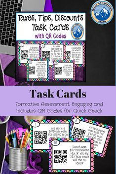 This is a set of task 32 task cards that ask students to find the amount of discount, sales price, prices with sales tax, meals with tips, meals with sales tax and tip and amount of sales taxes paid. And the best part is they are self-checking if you choose to use the QR codes with the cards.The QR codes are an exciting option! If you find yourself overwhelmed with students needed to check answers while others are struggling. #consumermath #bluemountainmath #tips #discounts