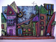 Texture Town up-cycled cardboard Sculpture Sculpture Lessons, Sculpture Projects, Art Sculpture, Cardboard Sculpture, Cardboard Art, Cardboard Relief, Wooden Sculptures, Middle School Art Projects, Art School