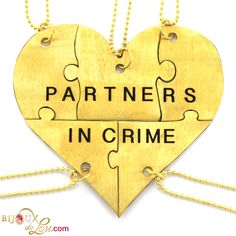 Brass Partners In Crime 5-Piece Necklace Set: Made of lasercut brass with a golden color, the heart is 3 inches at the widest point when assembled. It breaks into 5 puzzle piece pendants, each with its own matching 24 inch long brass necklace chain. Limited quantities available. Also sold in a stainless steel version.