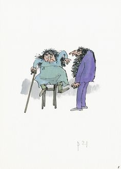 A Quentin Blake Art Show Is Bringing Your Favorite Children's Books Back To Life. The Twits 2010 Roald Dahl Characters, Cartoon Characters, Quentin Blake Illustrations, The Twits, Dancing Drawings, Typography Prints, Children's Book Illustration, Art Festival, Unique Art