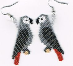 Hand Beaded Timneh Grey Amazon Parrot earrings by beadfairy1