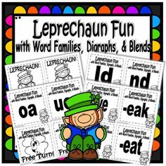 Digital download, (35 pages, $3.50) available at https://www.teacherspayteachers.com/Product/Leprechaun-Fun-with-Word-Families-Digraphs-and-Blends-3058740 This game is designed to give students extra practice with word families, digraphs and blends. Shuffle cards and stack with word/chunk facing down. Students take turns drawing from the top and saying the word/chunk aloud. They keep each card they correctly name. Unknown cards go face down under the deck.The student with the most cards…