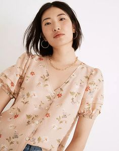 Silk Pembroke Top in Seaside Floral Altering Clothes, Long Tops, Women's Tops, Madewell, Natural Hair Styles, Style Inspiration, Silk, Stylish, Floral