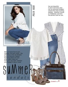"""""""The Cutest Summer Sandals (plus size fashion)"""" by beebeely-look ❤ liked on Polyvore featuring Ashley Graham, River Island, Miu Miu and Ray-Ban"""