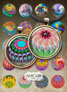 MAGIC MARBLES - Digital Collage Sheet 1 inch size / 1.5 inch size circle Images Printable downloads for pendants bottle caps magnets