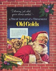 """Este Papai Noel com cara de bom velhinho entrega os presentes """"que você sempre quis"""". No caso, cigarros Old Goods."""
