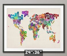 Typographic Text Map of the World Map, Art Print 24x36 inch (889). £24.99, via Etsy.