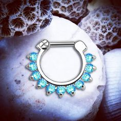 Aphrodite Blue Jeweled Silver Clicker | 16G Septum Clicker Tribal Piercing 10% off ALL body jewellery at www.throwbackannie.com with code: PINTEREST ! Get this jewelled clicker from www.throwbackannie.com and become a standout beaut! Comes in four different colours (blue, pink, purple and white) so you can build your perfect body piercing collection! Ideal festival style or for some rockin' street style! Use as a septum piercing or cartilage piercing! A diverse piece of body jewellery!!