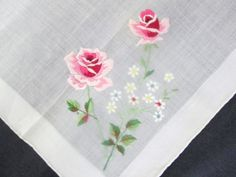 Vintage Pink Roses Handkerchief by Burmel by VintageLinens on Etsy, $10.00
