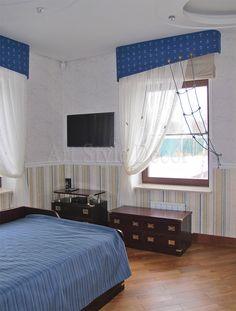 Оригинальное оформление окон в морском стиле для комнаты подростка #curtains