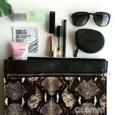 in my bag ❤️   #beleza #dermocosmetica #essentials #makeup #beauty #shiseido #ibuki #quickfixmist #chanel #rougeallure #gosh #lipoil #fashion #carrera #zara