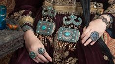 19th c Uzbekistani pendants inlaid with turquoise Singkiang inventory for sale