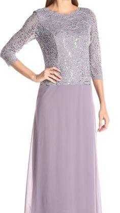 Alex Evenings NEW Purple Women's Size 16 Floral Lace Sequin Ball Gown Dress $169