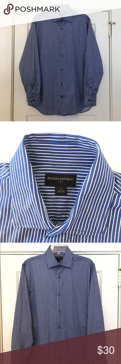 Men's Banana Republic medium button up 100% cotton Banana Republic classic fit  men's medium dress shirt. Blue and white stripes, barely worn and in great shape. Banana Republic Shirts Dress Shirts