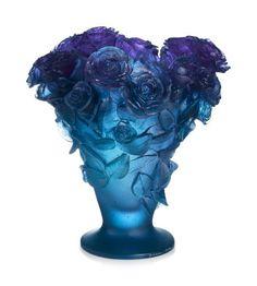 •❈• Roses  Ultraviolet Vase  by Daum Crystal