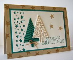 Another Stamp a Stack card: SU Festival of Trees; Lost Lagoon, Sahara Sand, Whisper White. Designed by Julie Kettlewell
