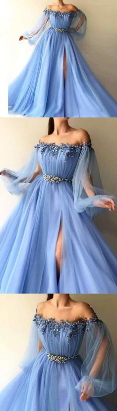 Blue Long Sleeve Tulle Prom Dresses with High Split Beaded Crystal Evening Dresses, This dress could be custom made, there are no extra cost to do custom size and color Split Prom Dresses, Prom Dresses Long Pink, Prom Dresses Long With Sleeves, Elegant Prom Dresses, A Line Prom Dresses, Tulle Prom Dress, Lace Evening Dresses, Cheap Prom Dresses, Event Dresses