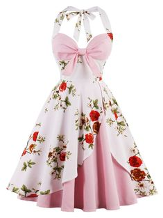 Vintage Halter Floral Print Pin Up Dress - PINK 2XL