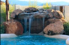 Rock #waterfall and #grotto #pool http://calpool.com