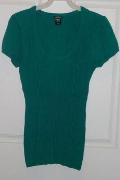 Maurices Jr Misses sz Large Green Low Neck Short Sleeve Sweater NWOT #Maurices #BoatNeck