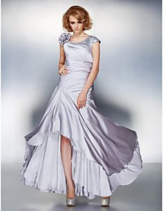 Lanting Bride A-line Plus Size / Petite Mother of the Bride Dress - Lace-up Asymmetrical Short Sleeve Satin Chiffon withFlower(s) / Side – USD $ 89.99