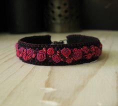 Lush Garden - Hand Embroidered  Pink and Black Floral Cuff Bracelet