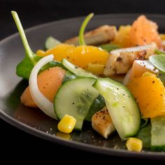 photo Salade Concombre, Melon, Orange & Poulet